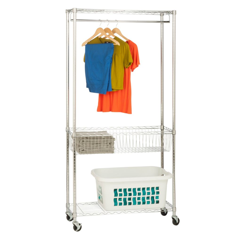 442-594 - Honey-Can-Do Chrome Rolling Laundry Station