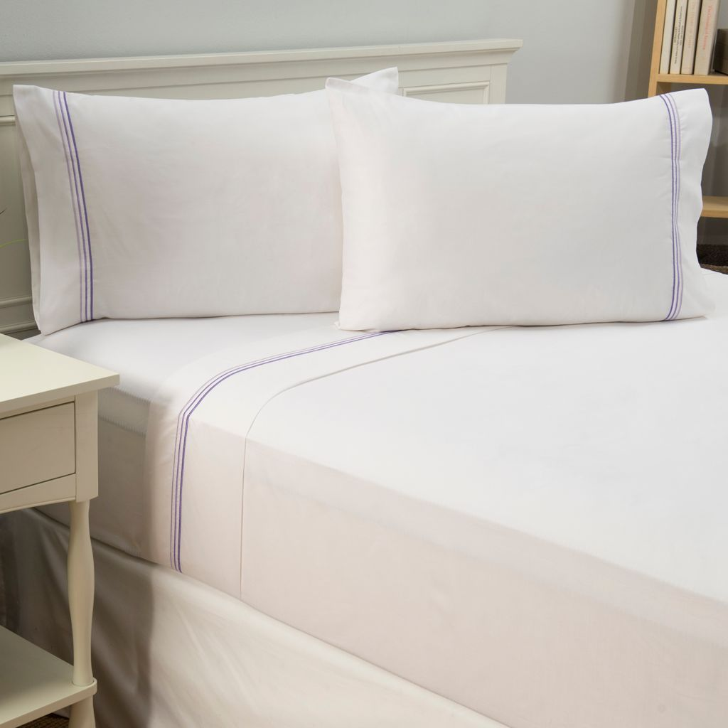 442-650 - Cozelle® 600TC Cotton/Poly Blend Easy Care Embroidered Stripe Four-Piece Sheet Set