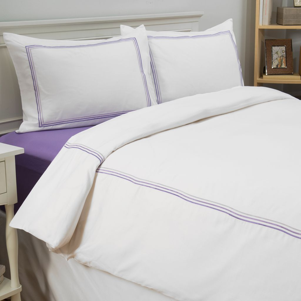 442-651 - Cozelle® 600TC Cotton / Poly Blend Easy Care Embroidered Stripe Three-Piece Duvet Set
