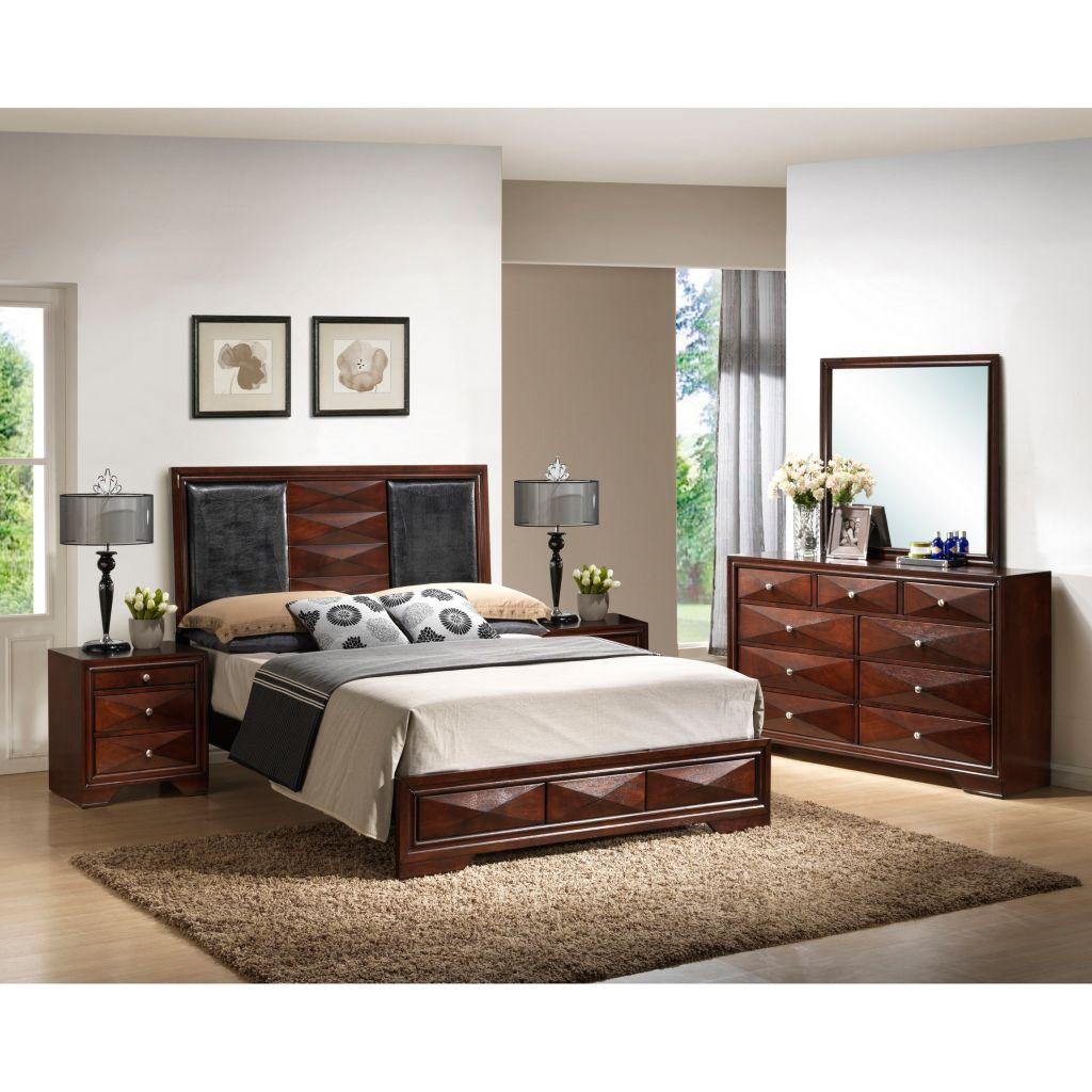 442-688 - Baxton Studio Windsor Brown Five-Piece Modern Bedroom Set