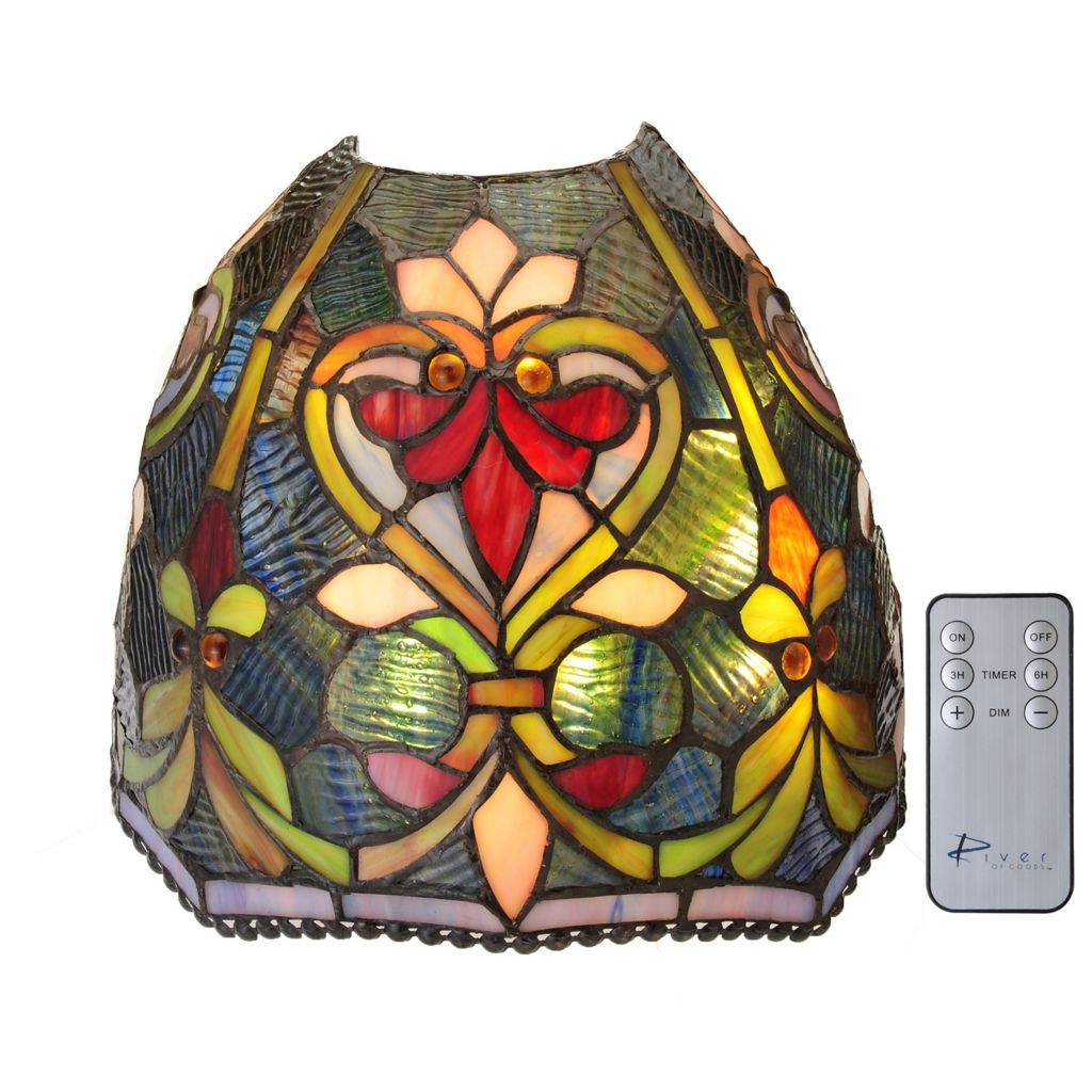 "442-694 - Tiffany-Style 8.75"" Brianne Wireless LED Stained Glass Wall Sconce w/ Remote Control"