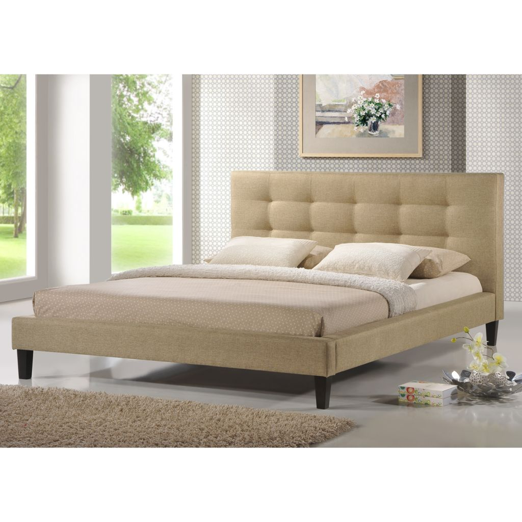 442-695 - Baxton Studio Quincy Dark Beige Linen Modern Bed