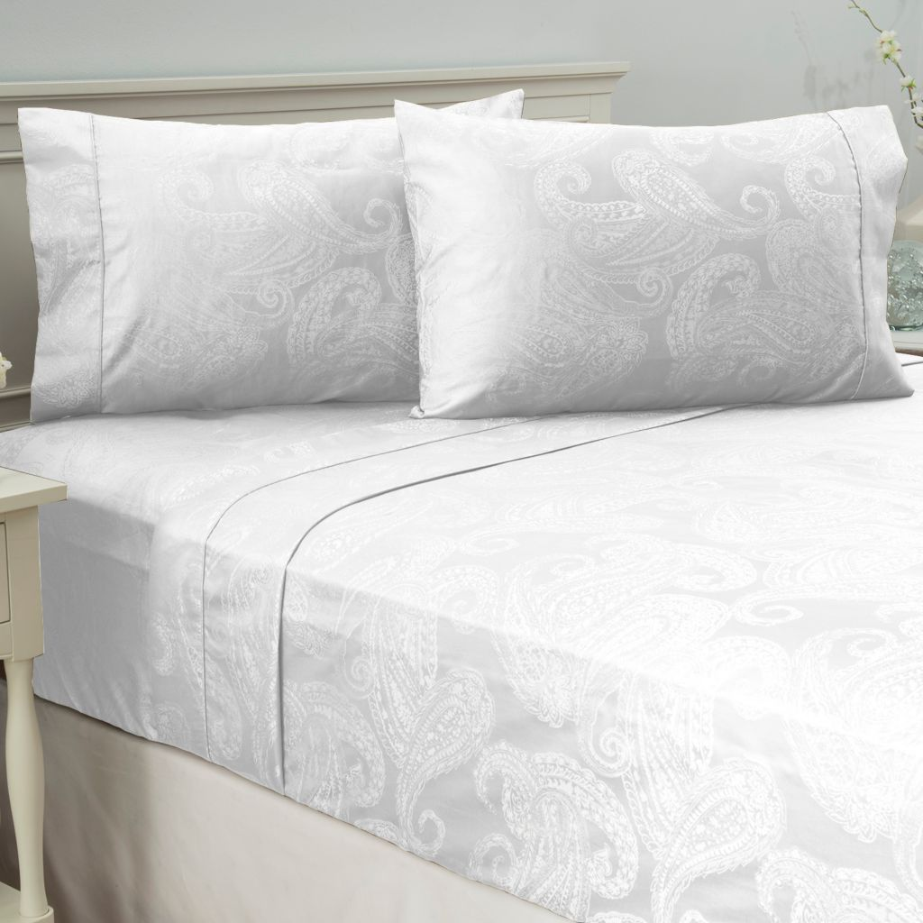 442-702 - Cozelle® 400TC Easy Care Cotton/Poly Blend Paisley Jacquard Four-Piece Sheet Set