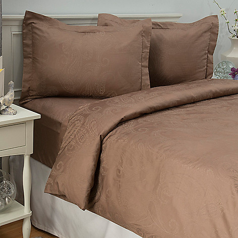 442-703 - Cozelle® 400TC Cotton / Poly Blend Easy Care Paisley Jacquard Three-Piece Duvet Set