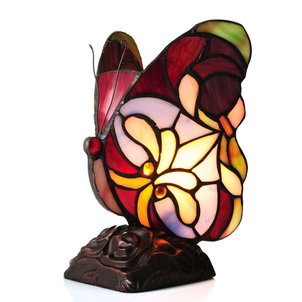 "442-737 - Tiffany-Style 8.25"" Brianne Butterfly Stained Glass Accent Lamp"