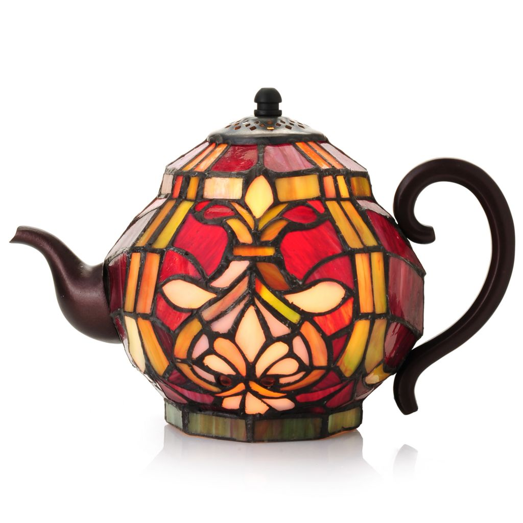 "442-738 - Tiffany-Style 6.25"" Brianne Teapot Stained Glass Accent Lamp"