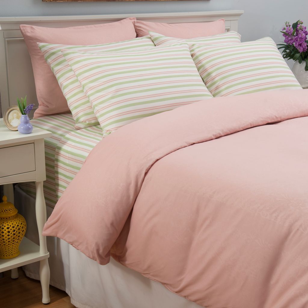 442-744 - Cozelle® Microfiber Solid & Striped Nine-Piece Duvet & Sheet Set