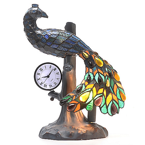 442-756 - Tiffany-Style 16'' Peacock Clock Stained Glass Accent Lamp