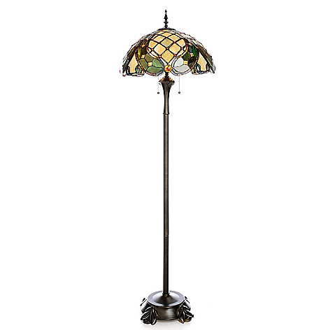 442-758 - Tiffany-Style 65.5'' Beaded Ribbons Stained Glass Floor Lamp