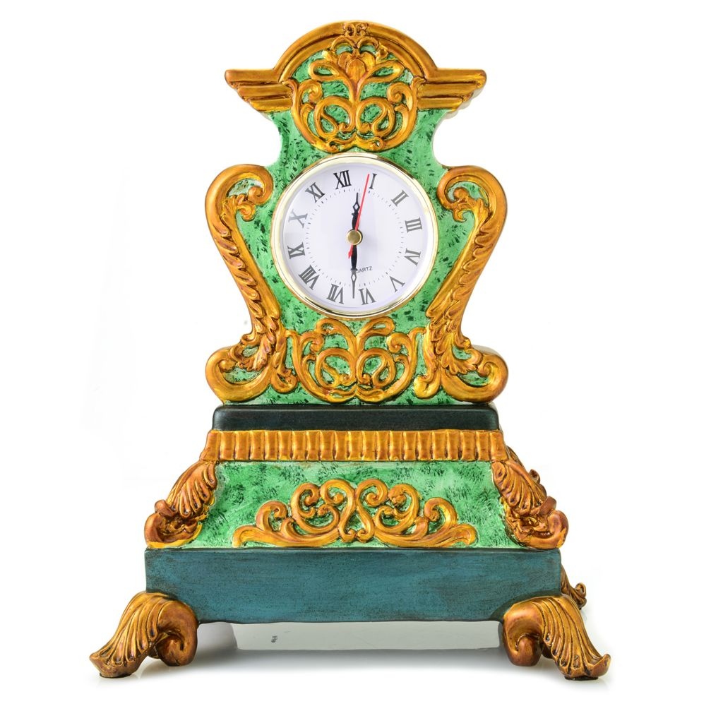 "442-803 - Style at Home with Margie 12"" Gilded Emerald Hand-Painted Mantle Clock"