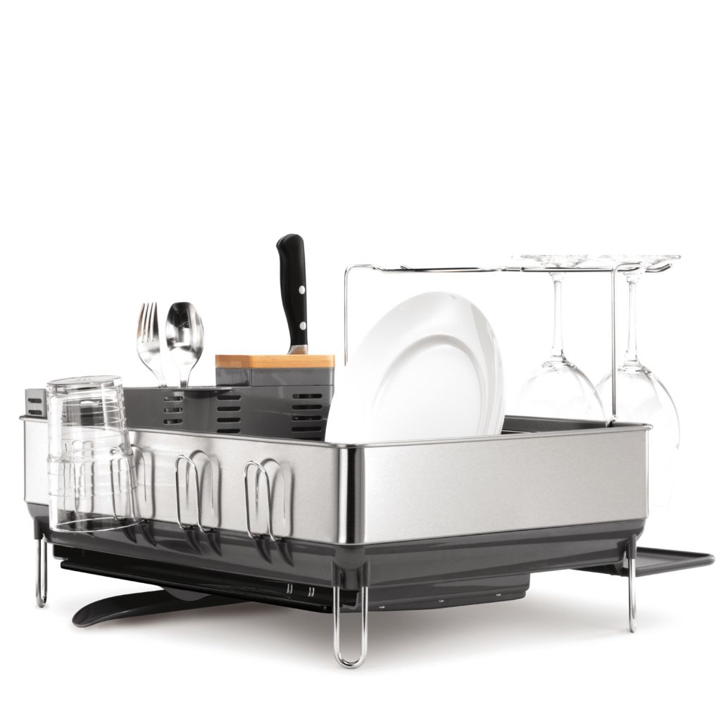 442-817 - simplehuman® Steel Frame Dishrack, Wine Glass Holder & Utensil Holder Set