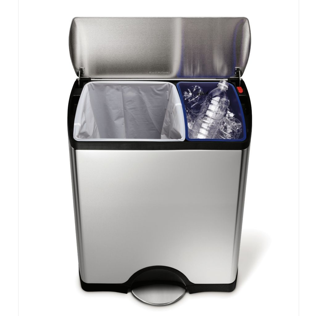 442-818 - simplehuman® 46 L Dual Trash & Recycle Can w/ 20 Liners