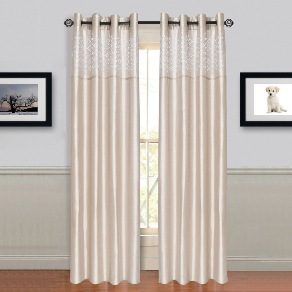 442-822 - Lavish Home Set of Two Alla Curtain Panels w/ Grommets
