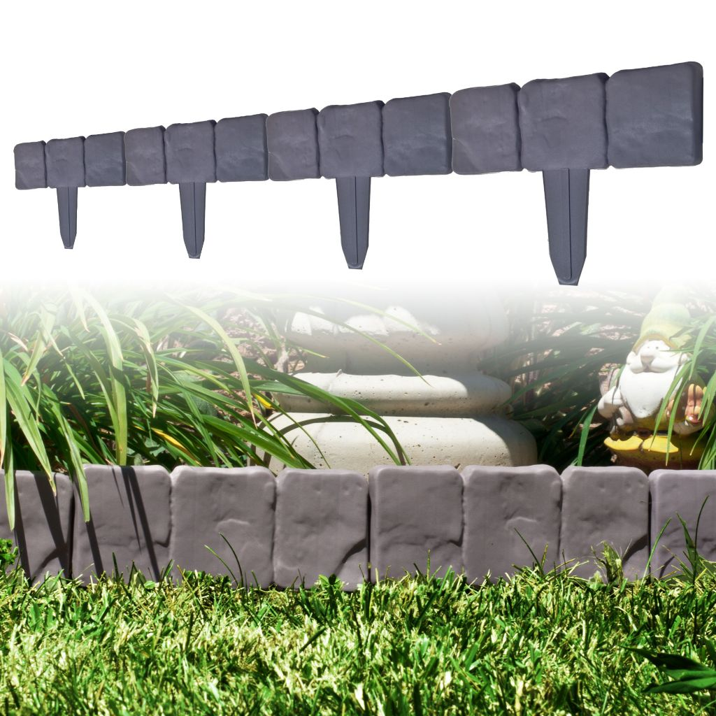 442-846 - Pure Garden 10-Piece Cobblestone Flower Bed Border