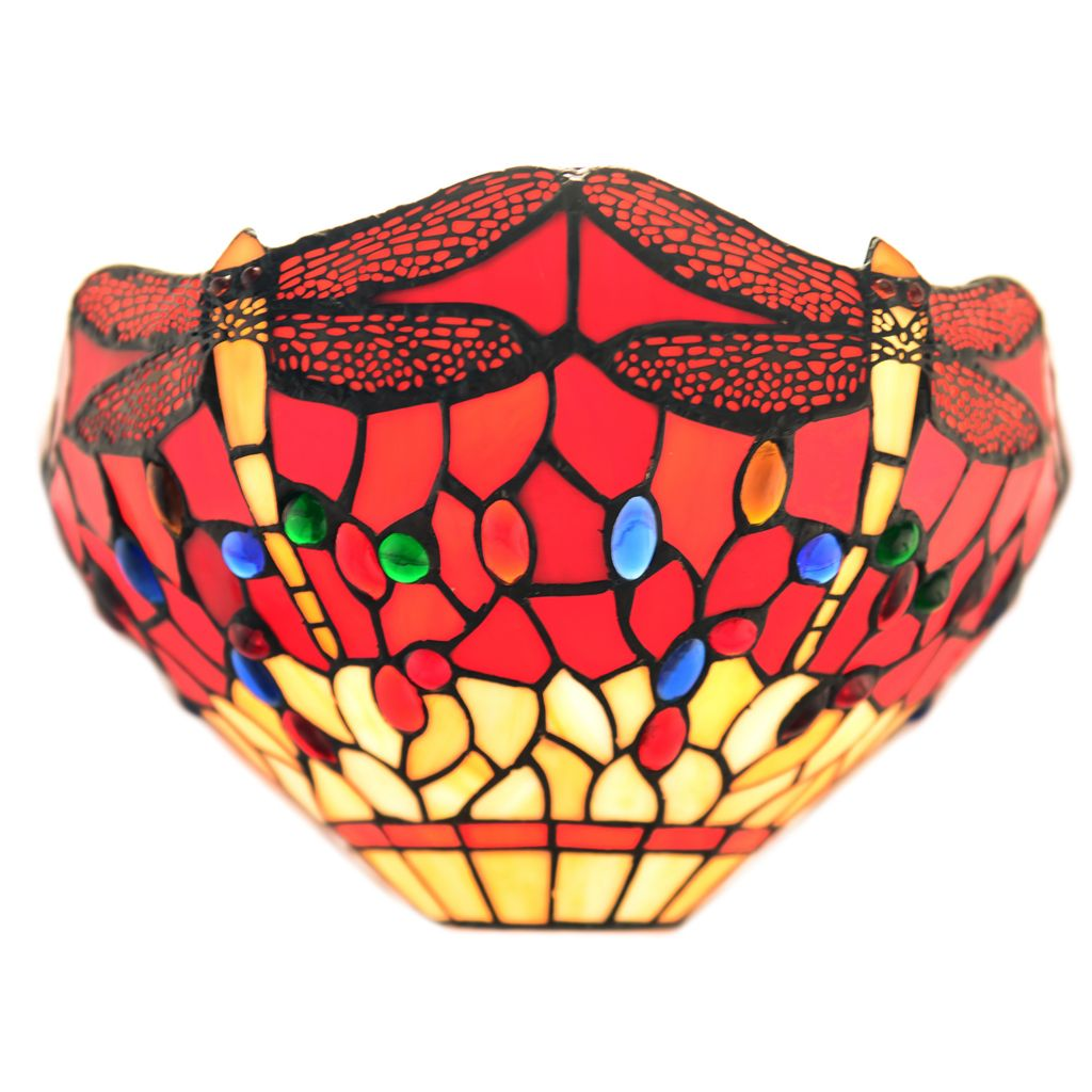 "442-853 - Tiffany-Style 8"" Arizona Dragonfly Stained Glass Wall Sconce"
