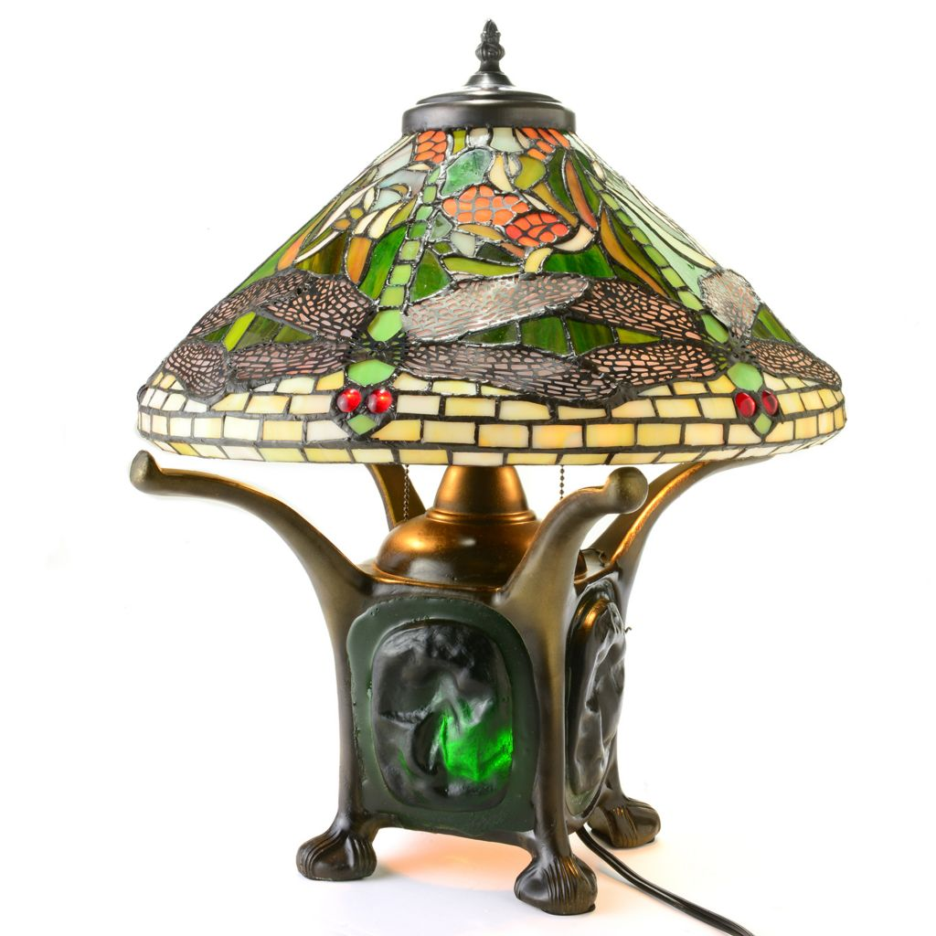 "442-855 - Tiffany-Style 19.5"" Dragonfly Double Lit Stained Glass Table Lamp"