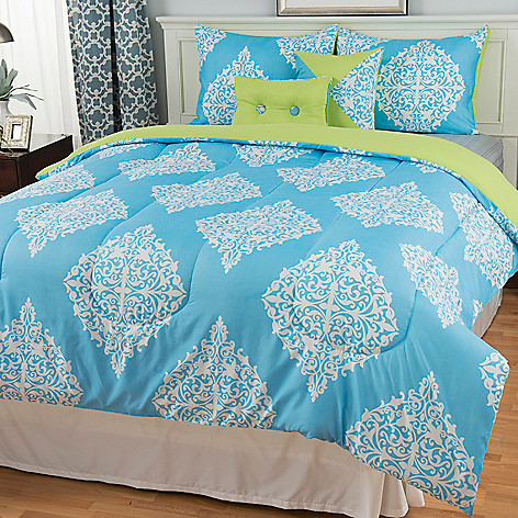 442-892 - North Shore Linens™ Microfiber Scrollwork Medallion Five-Piece Comforter Set
