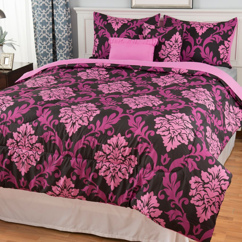 442-893 - North Shore Linens™ Microfiber Medallion Five-Piece Comforter Set