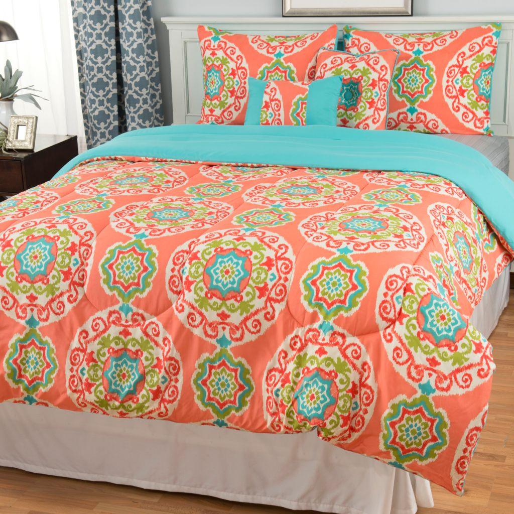 442-894 - North Shore Linens™ Microfiber Medallion Five-Piece Comforter Set