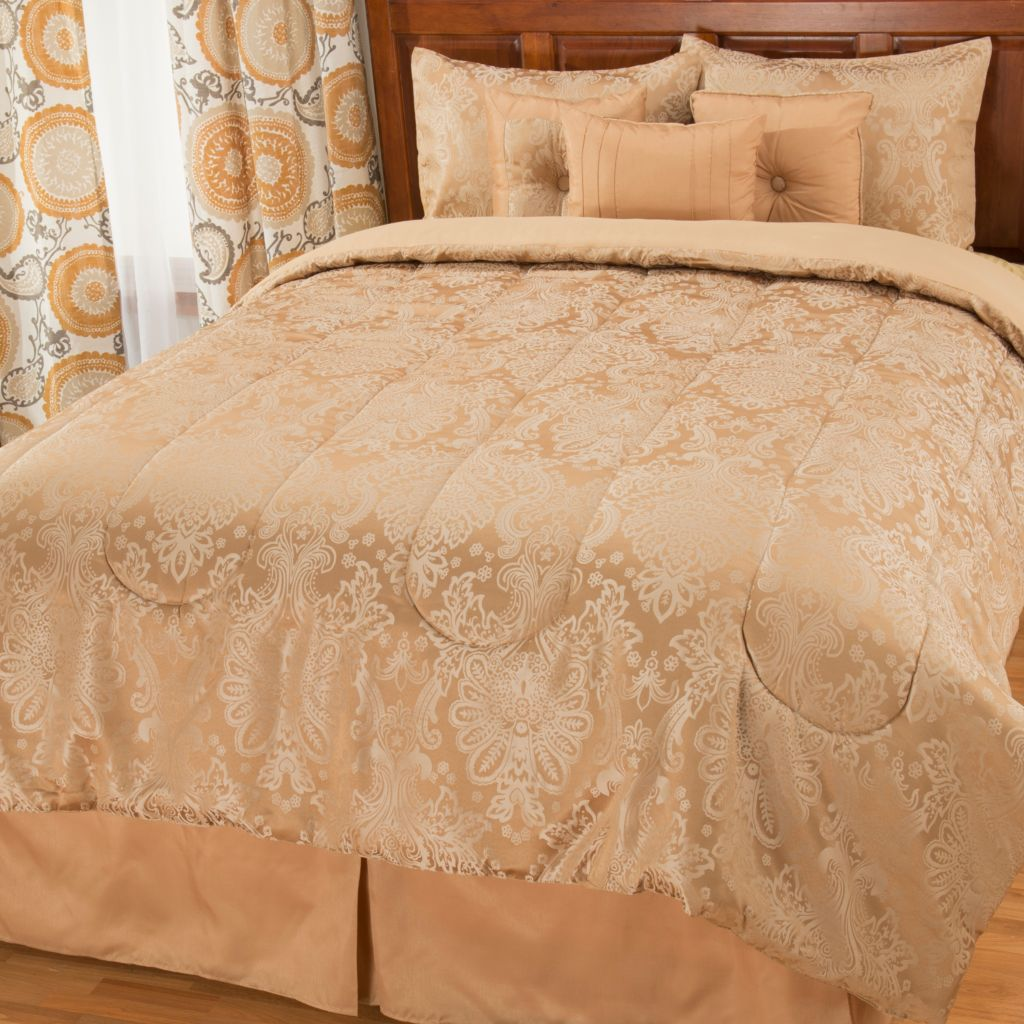 442-957 - North Shore Linens™ Floral Woven Jacquard Seven-Piece Bedding Ensemble
