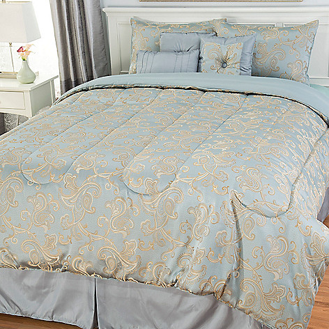 442-963 - North Shore Linens™ Floral Scrollwork Seven-Piece Bedding Ensemble