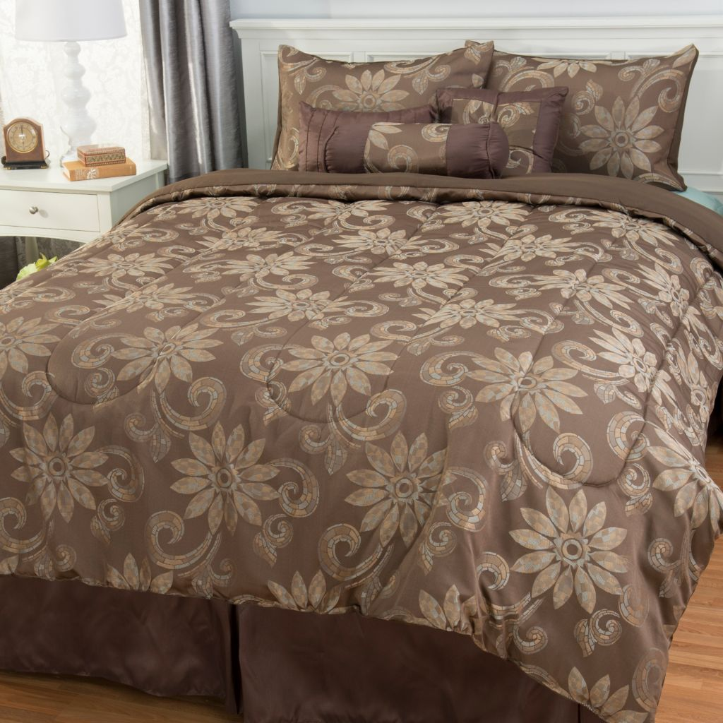443-051 - North Shore Linens™ Floral Jacquard Seven-Piece Bedding Ensemble