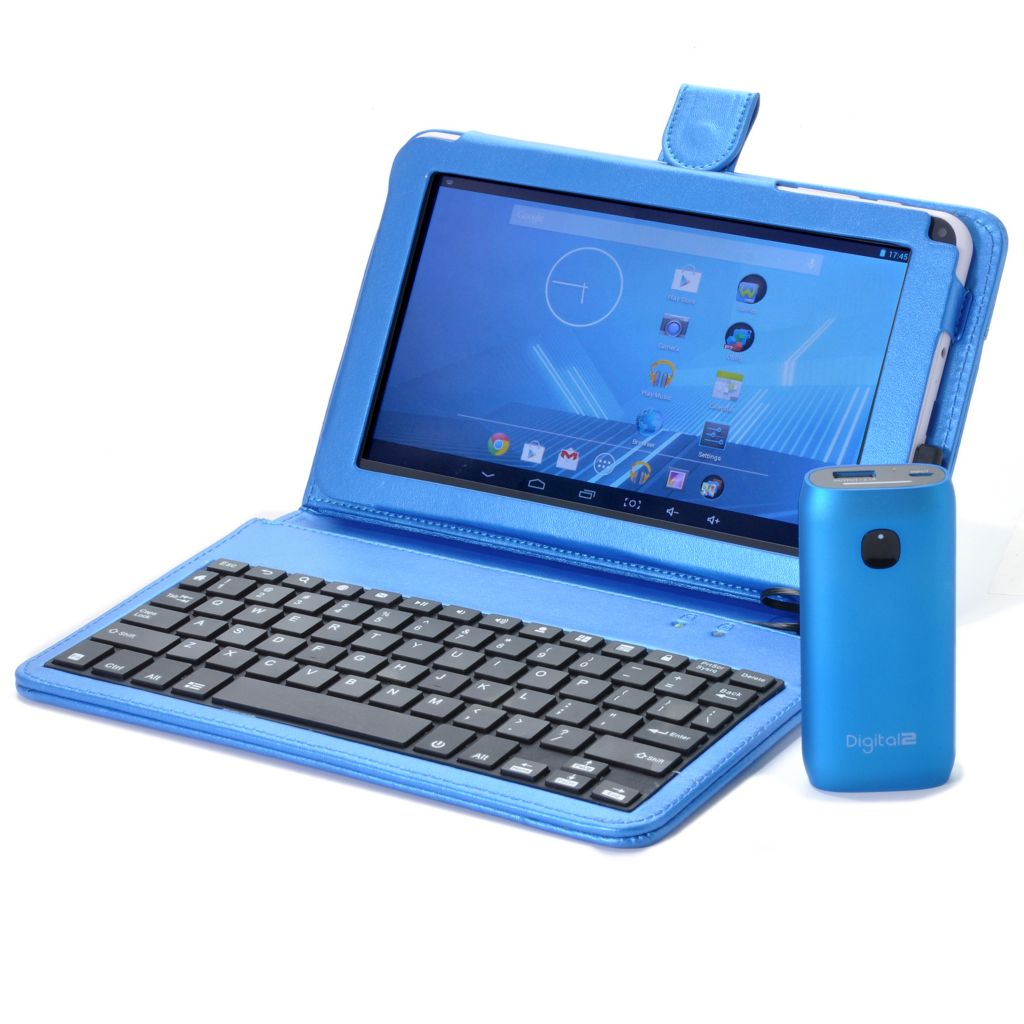 "443-064 - D2® 9"" Android™ 4.2 Google Certified Quad-Core Tablet w/ 4400mAh Charger & Keyboard Case"
