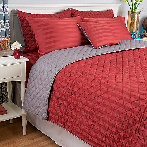 443-116 - Cozelle® Microfiber Dobby Striped 12-Piece Sheet & Coverlet Set