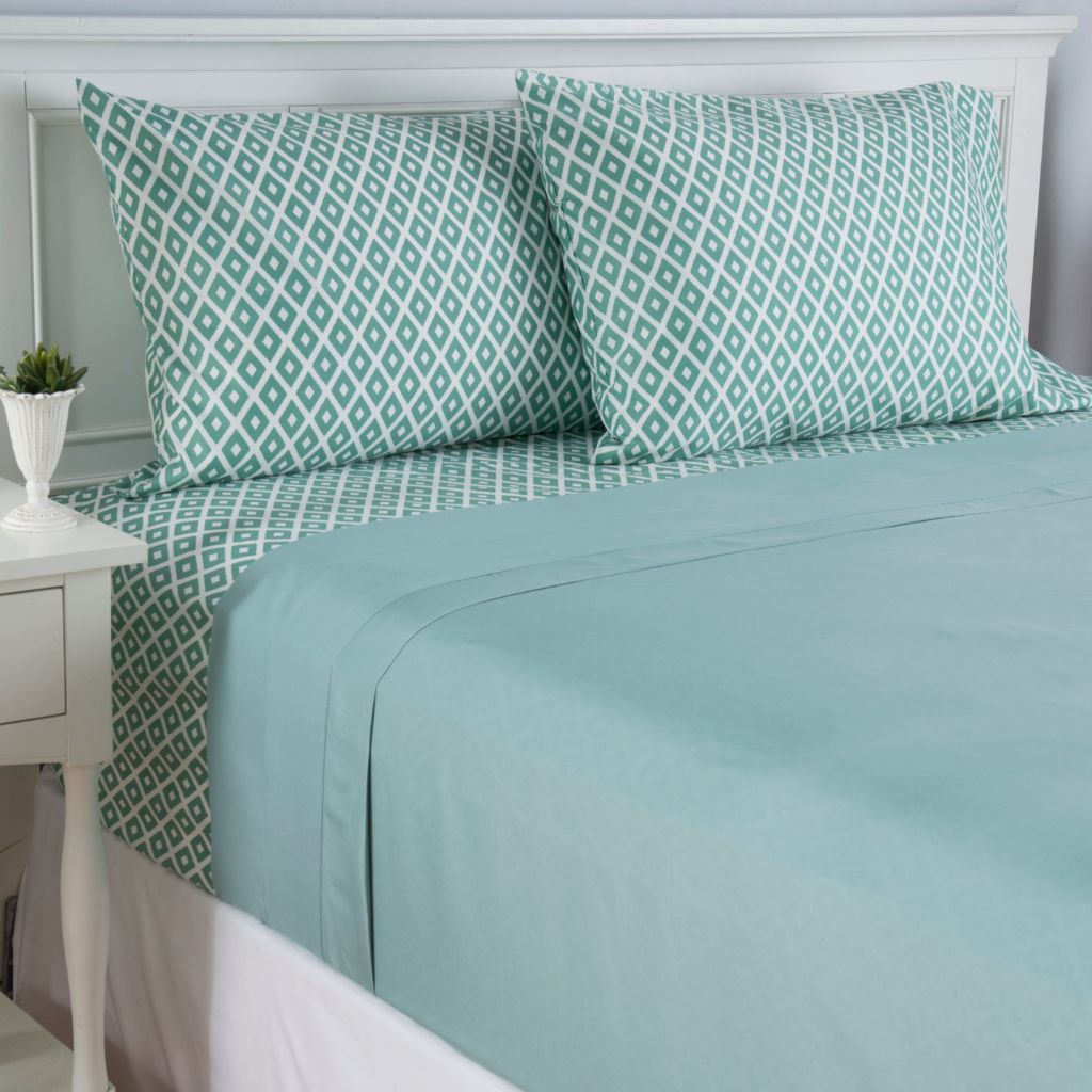 443-151 - Cozelle® Set of Two Microfiber Solid & Printed Four-Piece Sheet Sets