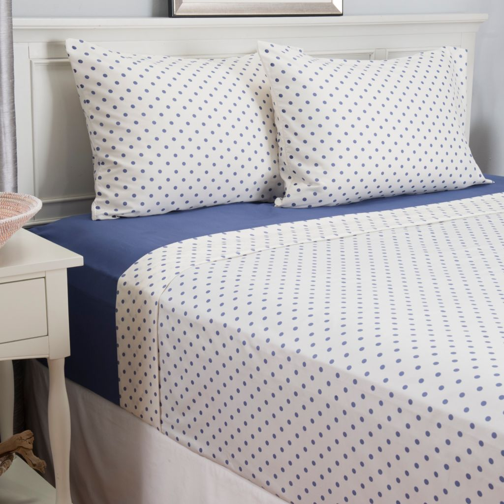 443-170 - Cozelle® Set of Two Microfiber Solid & Polka Dot Four-Piece Sheet Sets