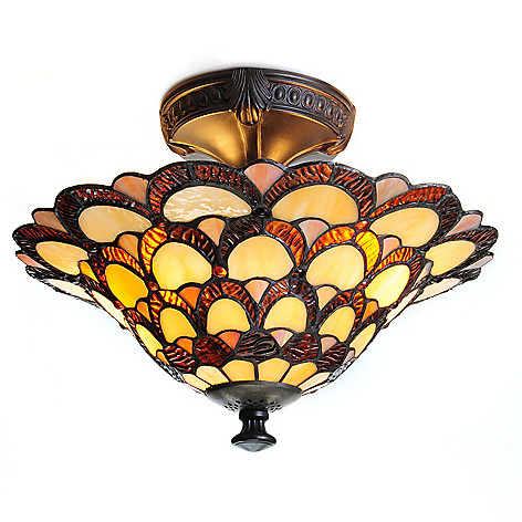 443-232 - Tiffany-Style 11'' Peacock Stained Glass Semi-Flush Mount