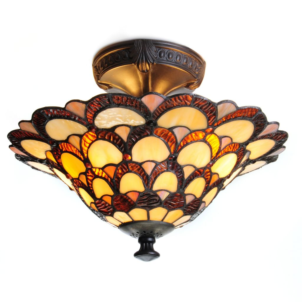 "443-232 - Tiffany-Style 11"" Peacock Stained Glass Semi-Flush Mount"