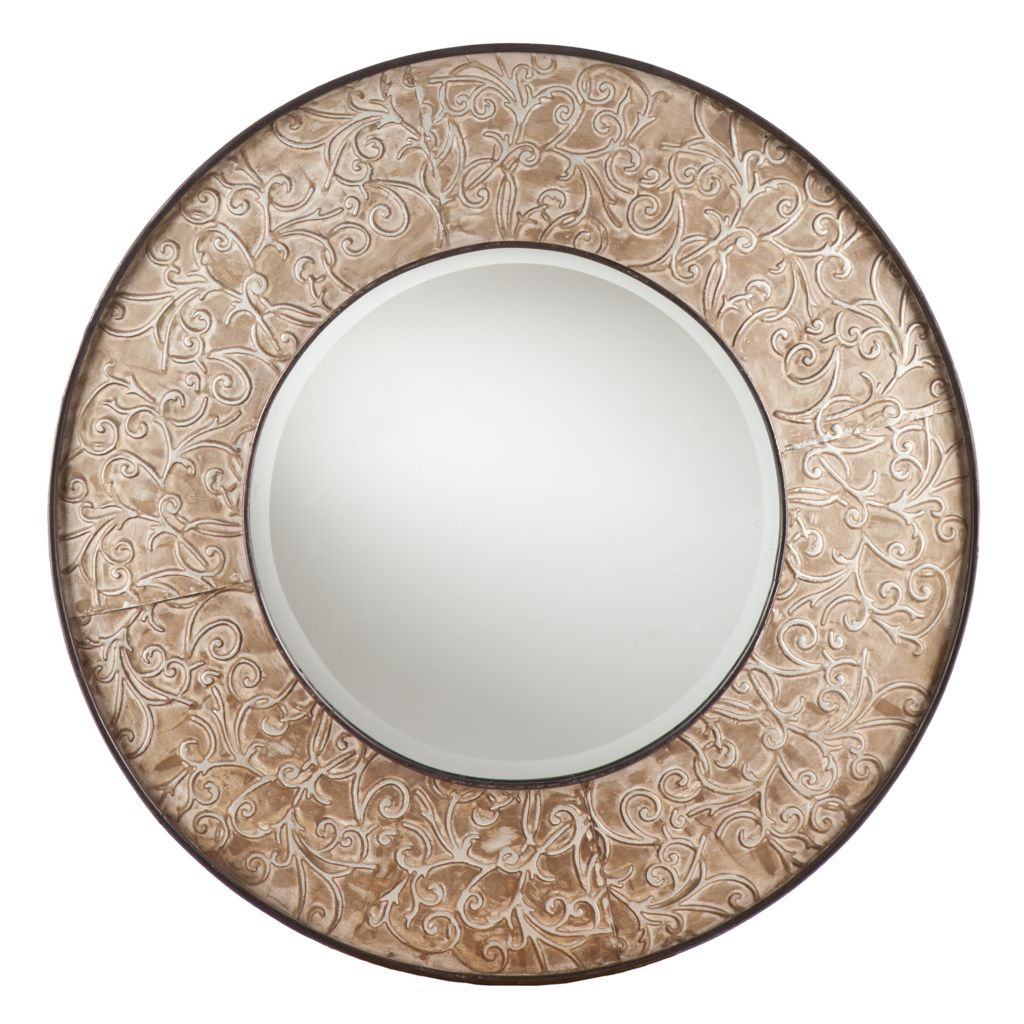 "443-250 - Brooke 31"" Decorative Swirl Round Wall Mirror"