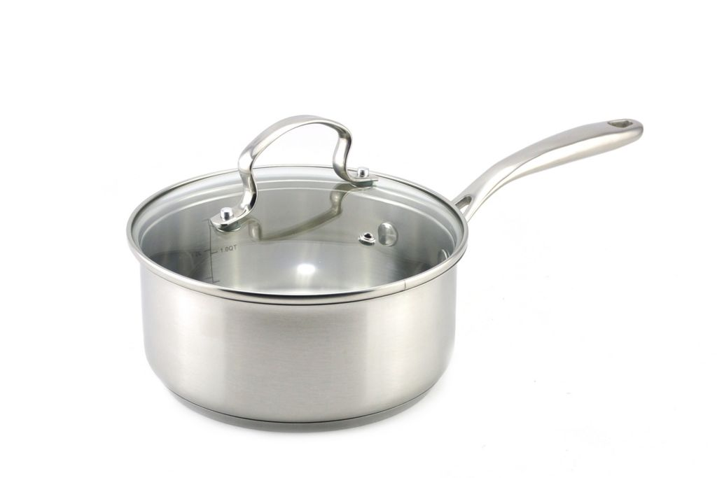 443-282 - Kevin Dundon 2 qt Sauce Pan w/ Lid & Four-Piece Tool Set