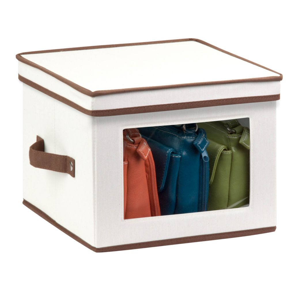443-296 - Honey-Can-Do Medium Natural Canvas Storage Box w/ Window