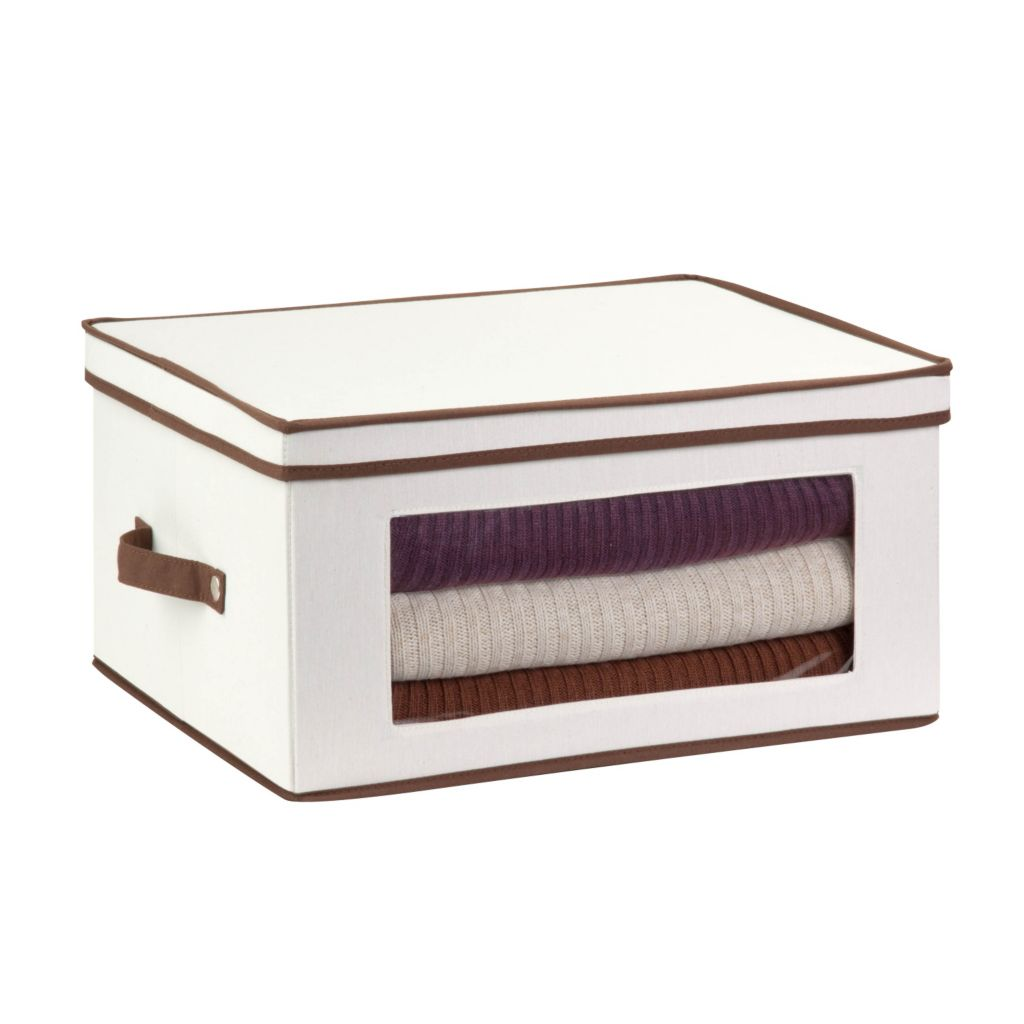 443-298 - Honey-Can-Do Large Natural Canvas Storage Chest w/ Window