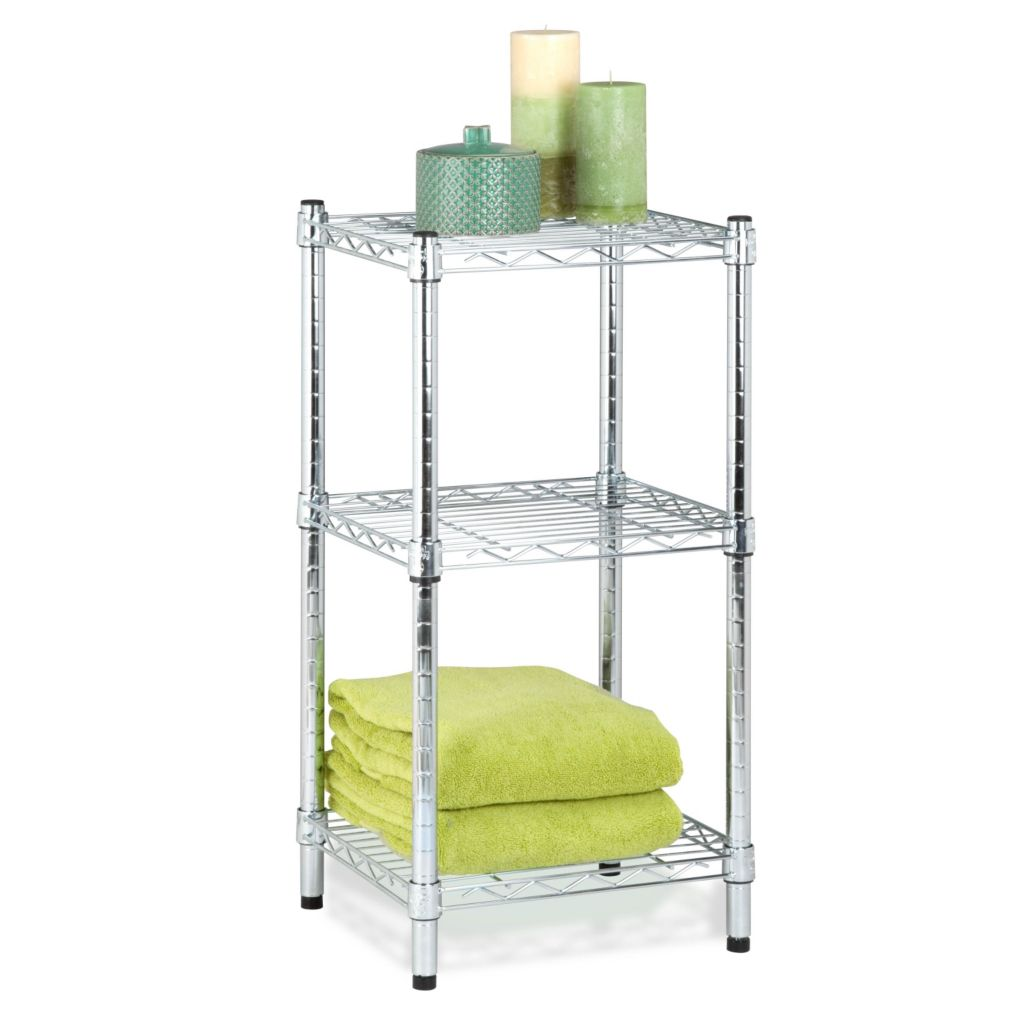 443-303 - Honey-Can-Do Three-Tier Chrome Wire Shelving Tower