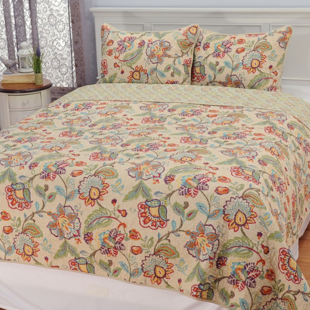 443-385 - Cozelle® Cotton/Poly Blend Floral Three-Piece Quilt Set
