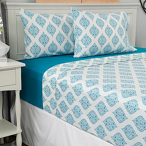443-388 - Cozelle® Set of Two Microfiber Solid & Print Four-Piece Sheet Sets