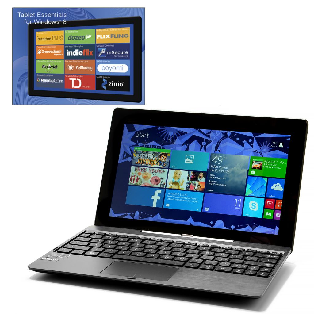 "443-391 - ASUS 10"" Quad-Core Windows 8 Tablet w/500GB Detachable Keyboard, MS Office & Damage Protection"