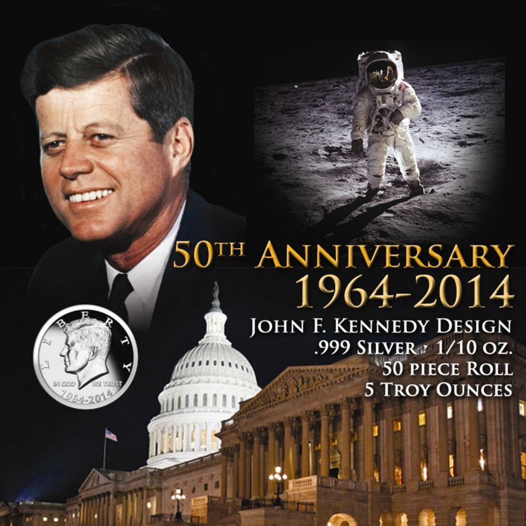 443-432 - 1964-2014 Silver JFK 50th Anniversary BU Replica 50-Piece Roll