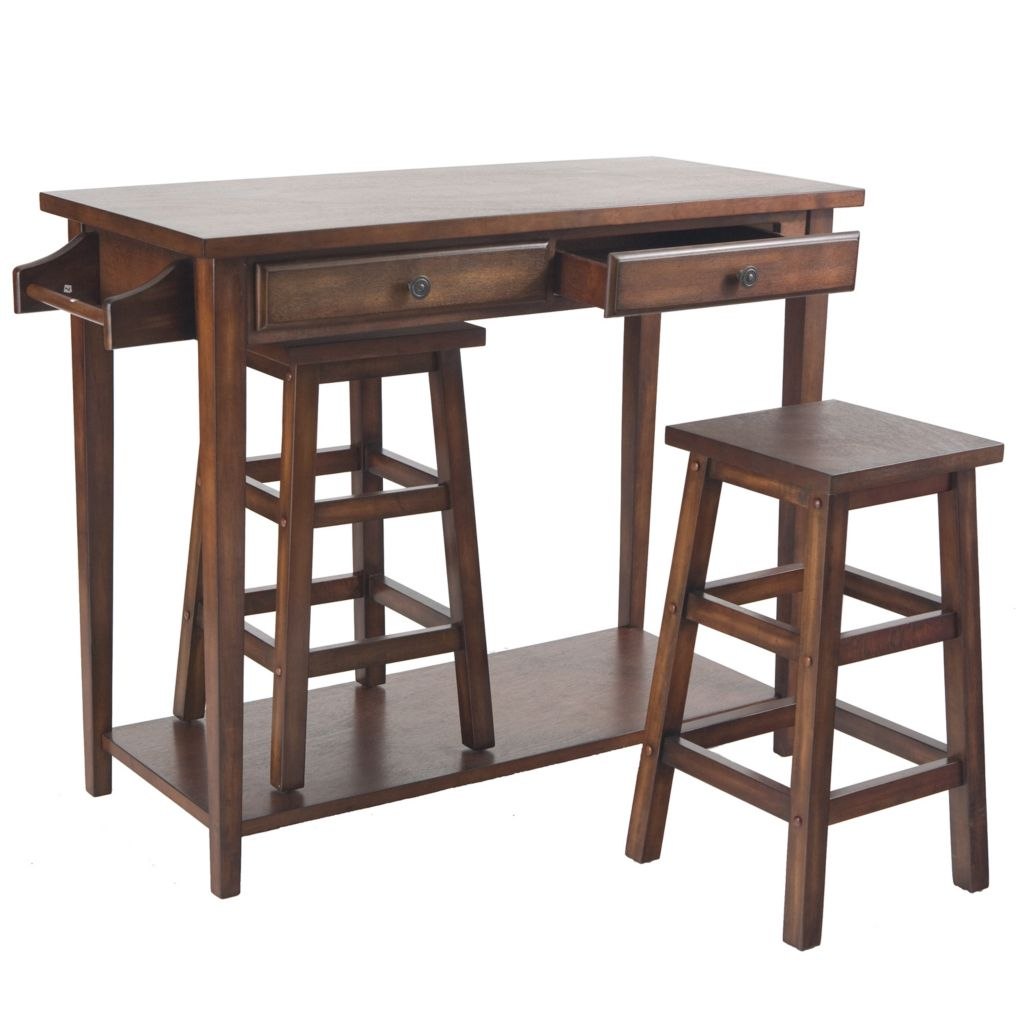 443-512 - Three-Piece Breakfast Island Table & Stool Set