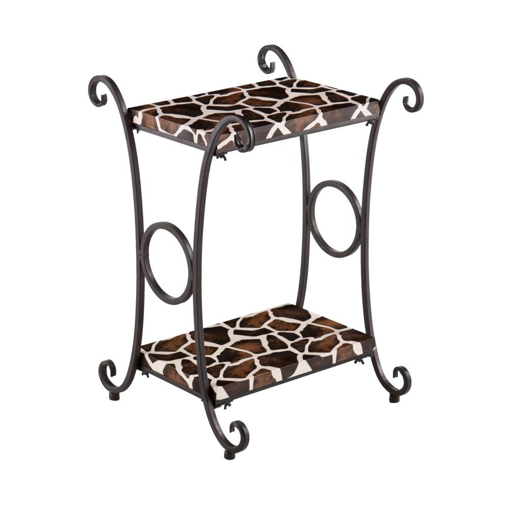 "443-518 - 26"" Animal Print Faux Leather Accent Table"