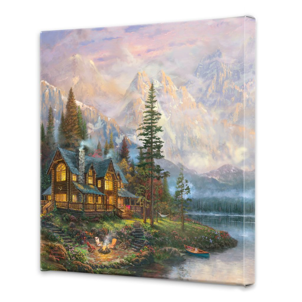 "443-591 - Thomas Kinkade ""Cathedral Mountain Lodge"" 20"" x 20"" Gallery Wrap"