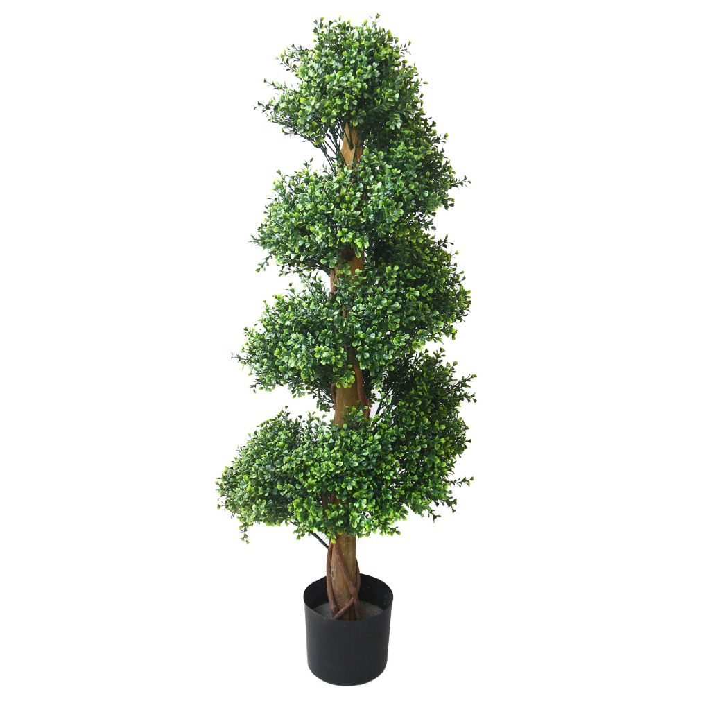 "443-620 - 50"" Artificial Romano Boxwood Spiral Topiary Tree"