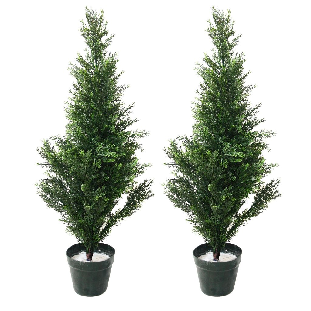 "443-623 - Set of Two 36"" Artficial Romano Topiary Cedar Trees"