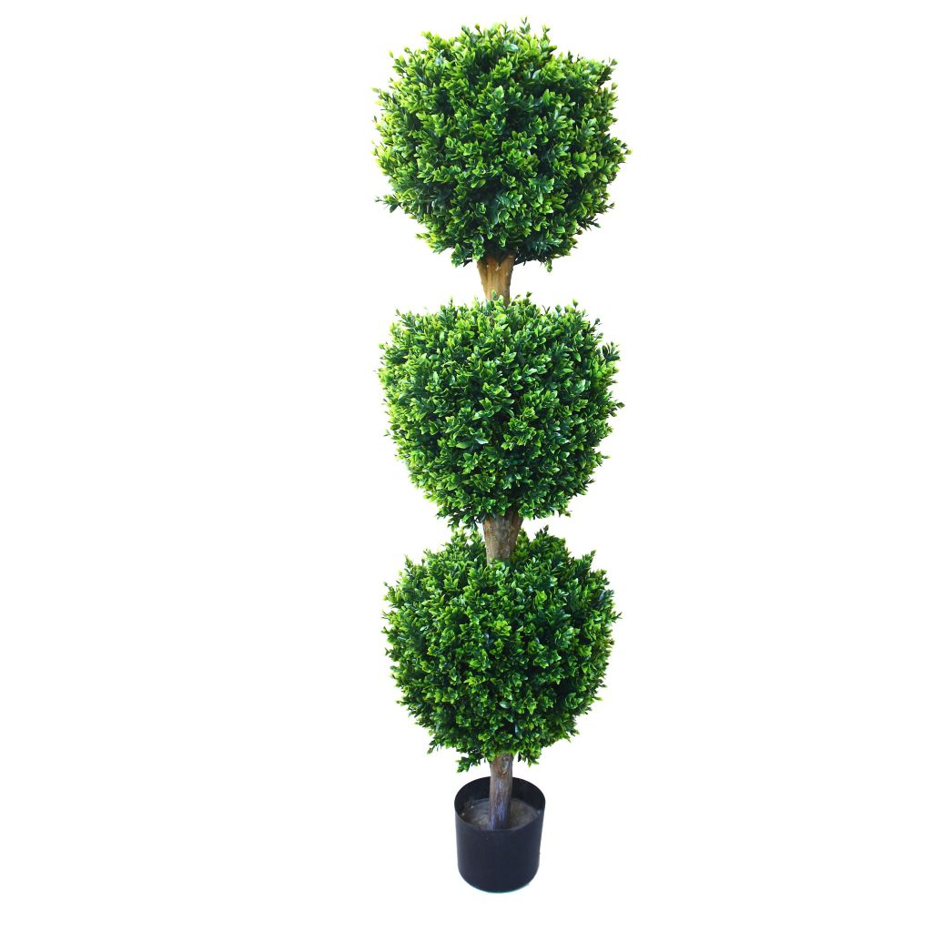 443-625 - 5' Artificial Romano Hedyotis Triple Ball Topiary Tree