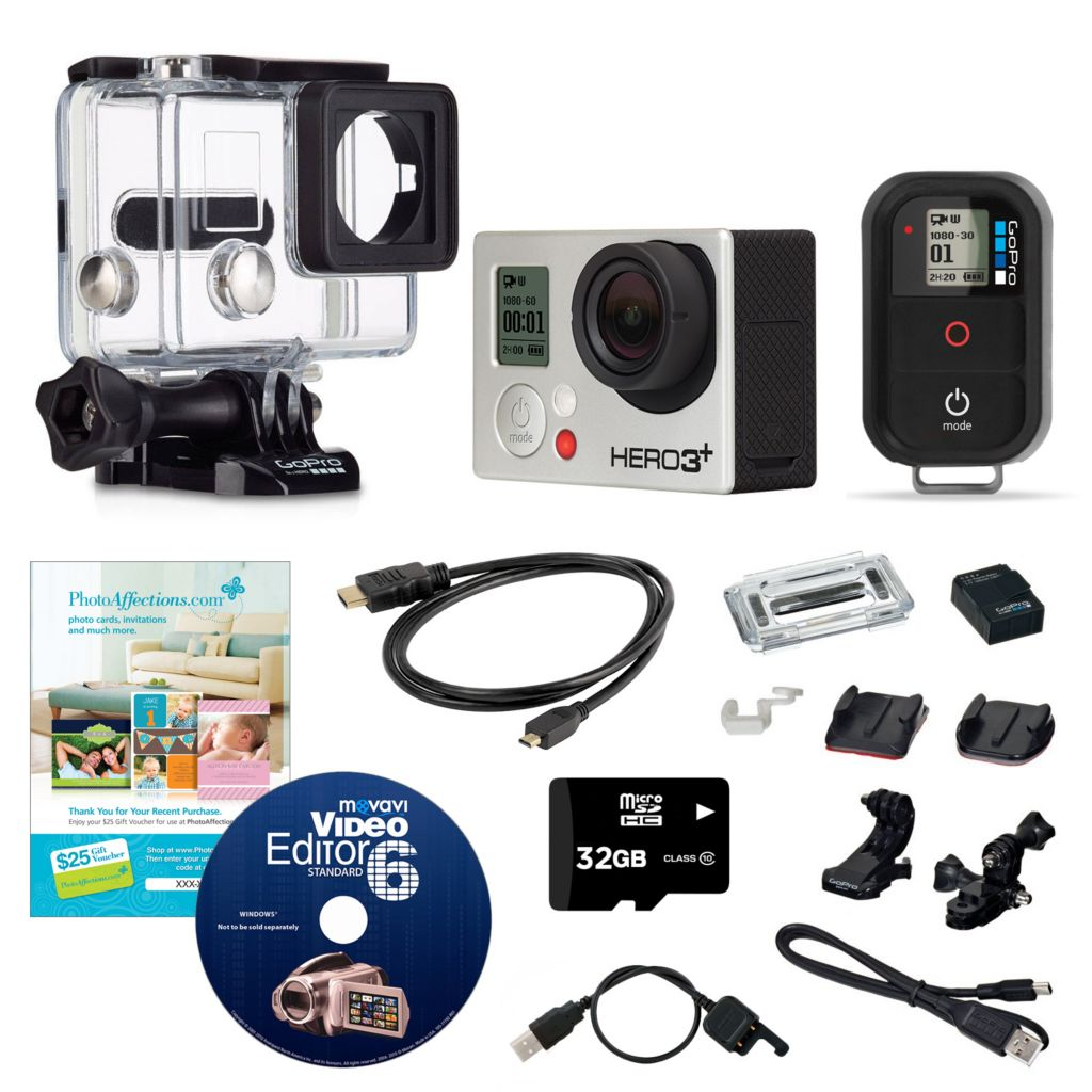 443-643 - GoPro HERO3+ 12MP Wi-Fi Black Camera Bundle w/ SD Card & Accessories