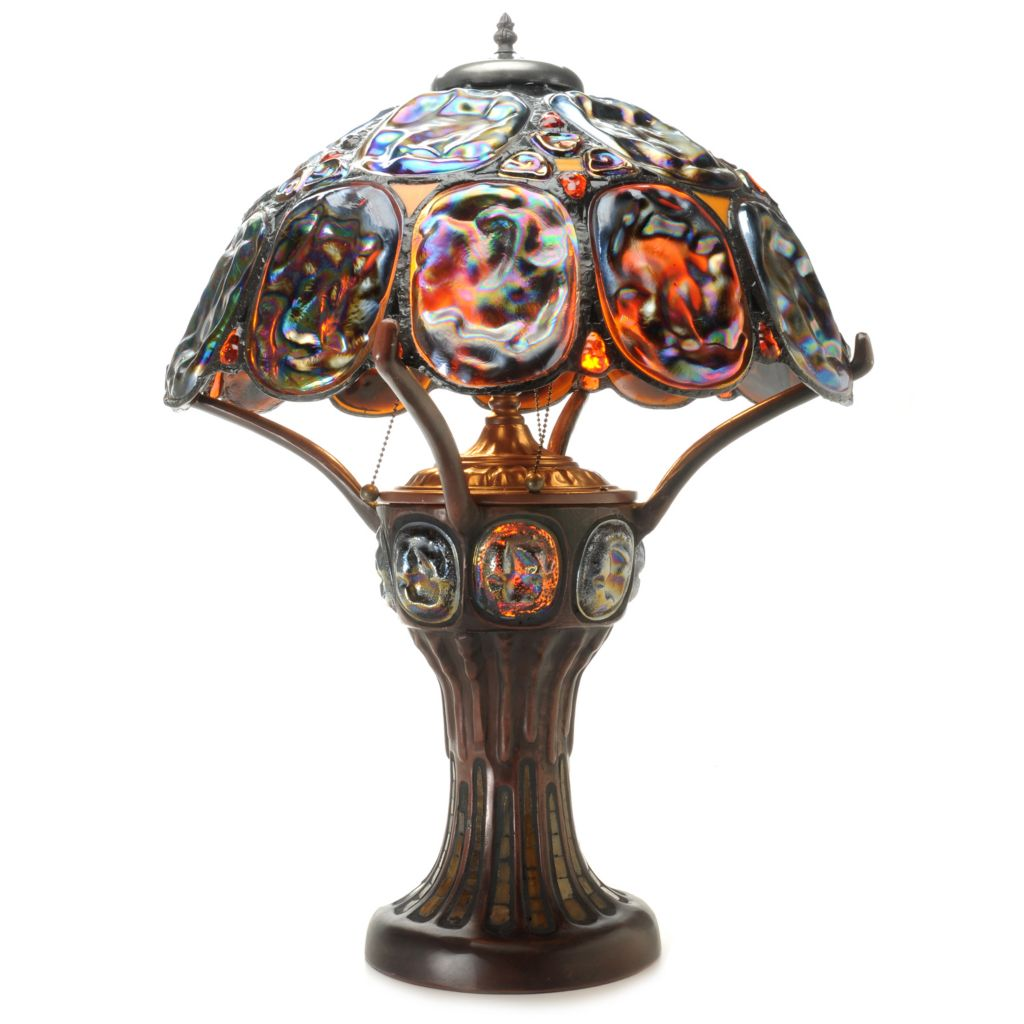 "443-649 - Tiffany-Style 27"" Turtle Back Double Lit Stained Glass Table Lamp"