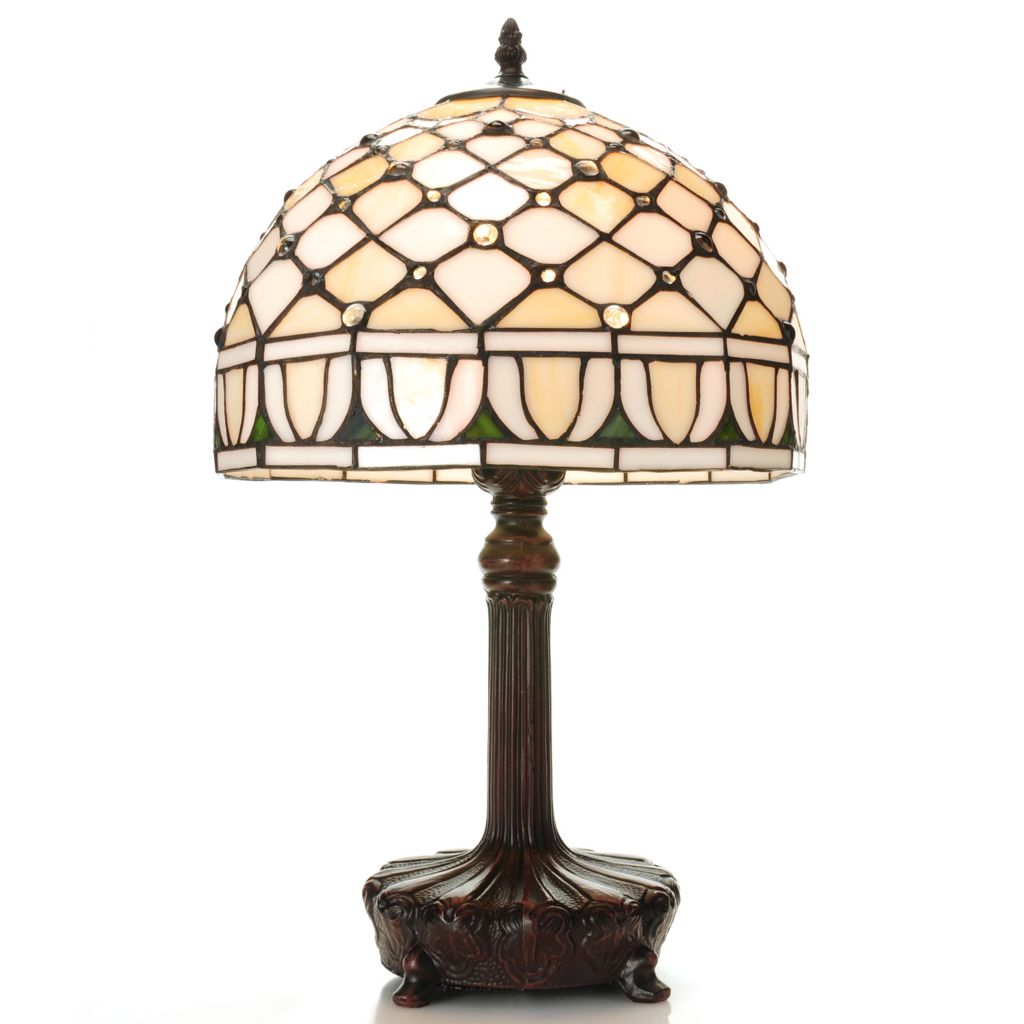 "443-652 - Tiffany-Style 19"" Jeweled Cabochon Stained Glass Table Lamp"